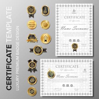 Certificat professionnel avec modèle de badge
