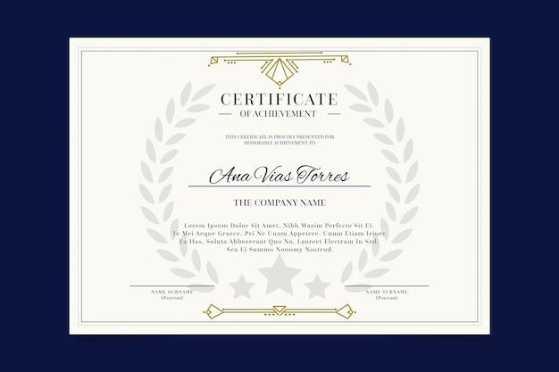 Certificat professionnel de modèle élégant