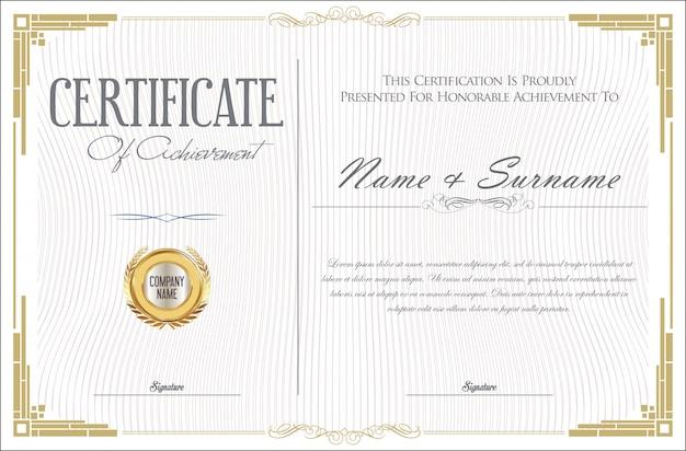 Certificat de réalisation modèle de conception rétro