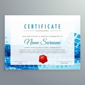 Certificat de réalisation modèle avec des formes abstraites bleu