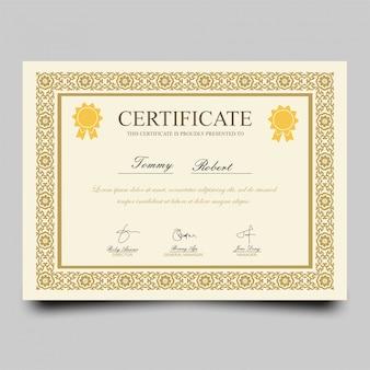 Certificat de récompense classique