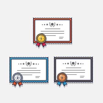 Certificat de récompense avec conception d'illustration de médaille