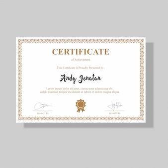 Certificat de récompense élégant