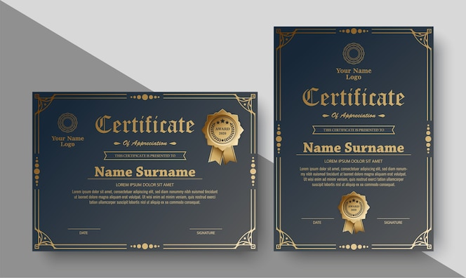 Certificat de récompense de luxe avec ornement de cadre
