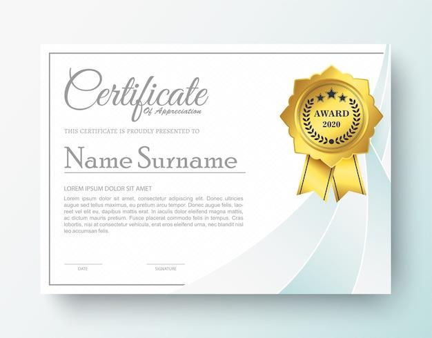 Certificat de récompense moderne de couleur blanche