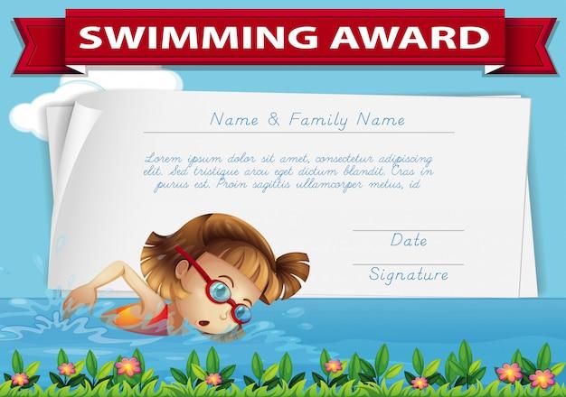 Certificat de récompense de natation