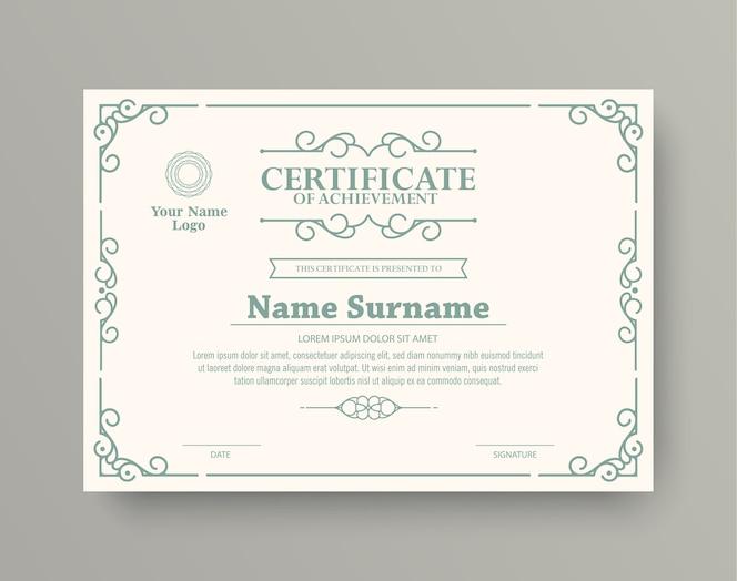 Certificat de récompense de style classique avec cadre