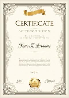 Certificat de reconnaissance cadre vintage avec ruban d'or. portrait.