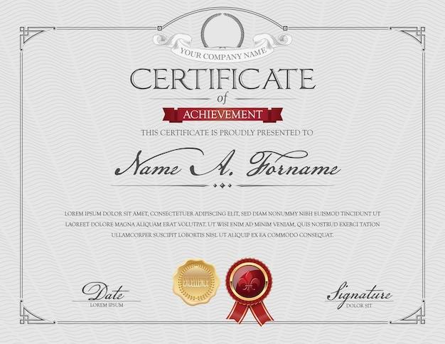 Certificat de reconnaissance avec couronne de laurier