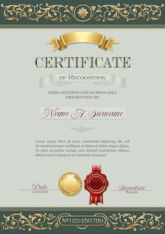 Certificat de reconnaissance vitnage portrait vert