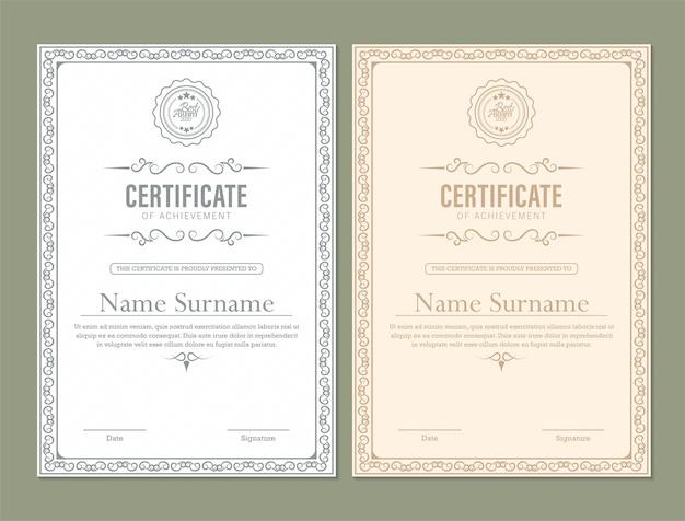 Certificat de réussite avec cadre classique