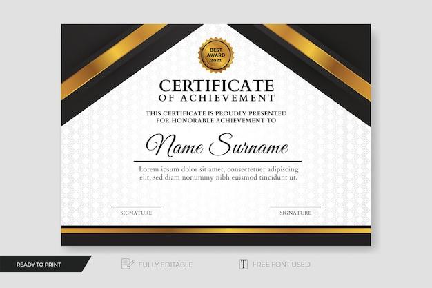 Certificat de réussite création moderne avec motif de fond