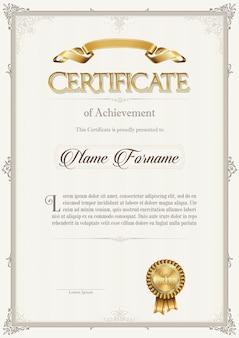 Certificat de réussite dans un cadre vintage