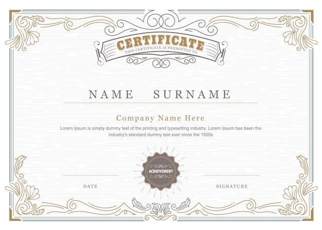 Certificat de réussite élégant s'épanouit cadre antique vintage