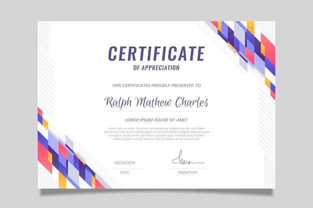 Certificat de réussite modèle géométrique