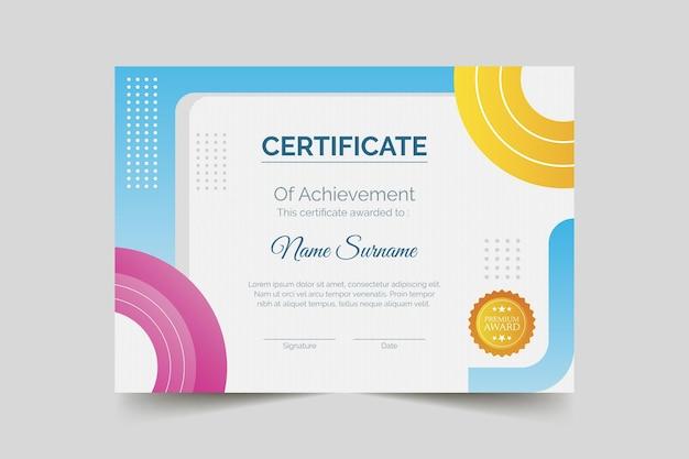 Certificat de réussite moderne