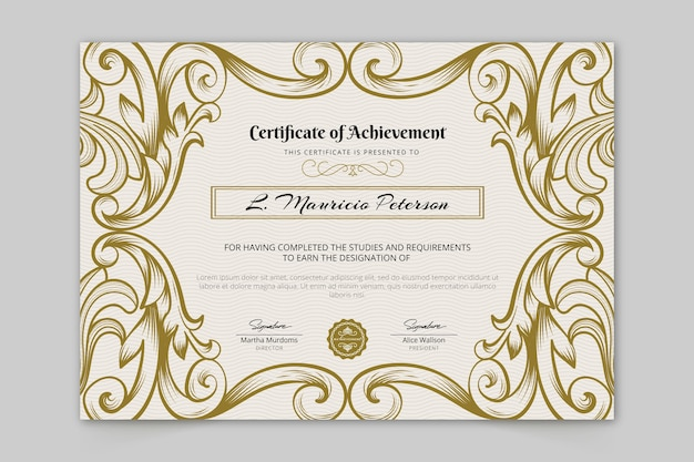 Certificat de réussite ornemental
