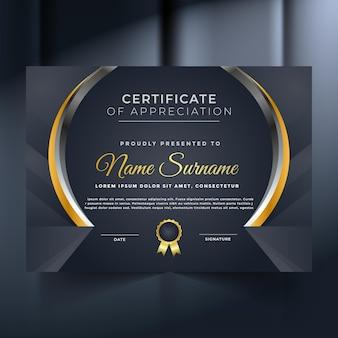 Certificat de réussite premium abstrait noir