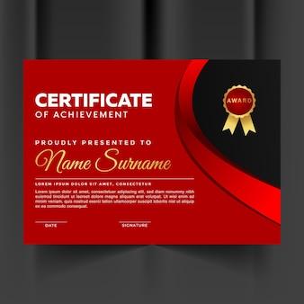 Certificat de réussite premium rouge et abstrait