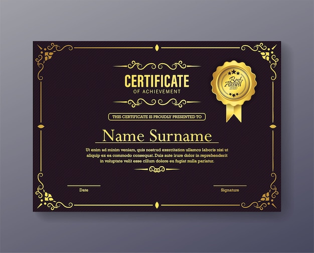 Certificat de réussite violet luxueux avec un cadre classique