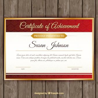 Certificat rouge élégant