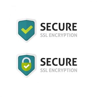 Certificat ssl ou symbole de bouclier de chiffrement sécurisé