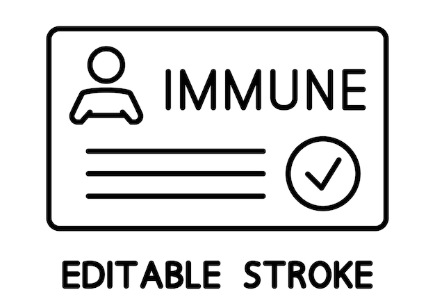 Certificat de vaccination contre covid-19 avec coche, carte médicale ou passeport pour voyager en temps de pandémie. carte immunitaire. notion de vaccination. trait modifiable. icône de contour de vecteur