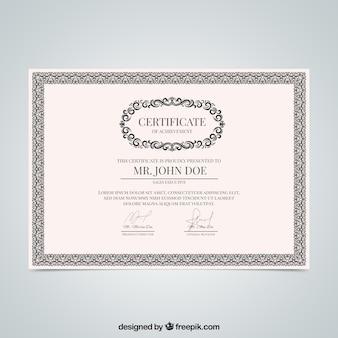 Certificat vintage dans un style classique