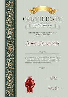 Certificat vintage de reconnaissance cadre vintage.