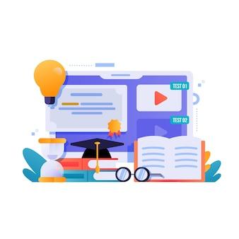 Certification en ligne avec des livres et des lunettes
