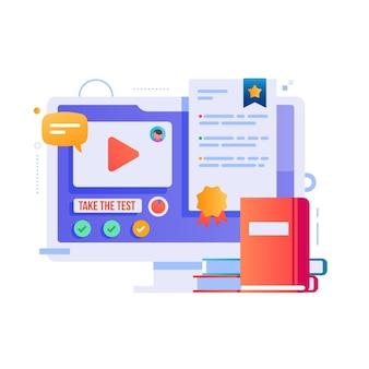 Certification en ligne avec livres et ordinateur