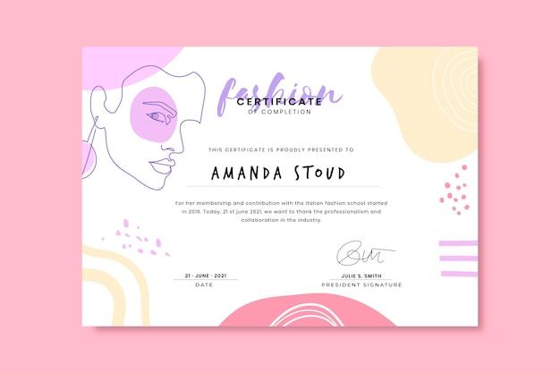 Certificats de mode colorés doodle