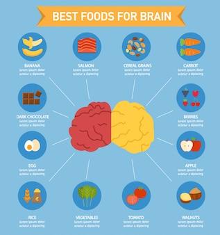 Cerveau, alimentation, nourriture, infographie, illustration