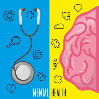 Cerveau en bonne santé avec un traitement de stéthoscope