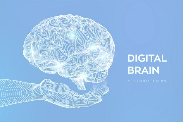 Cerveau. cerveau numérique à la main. réseau neuronal.