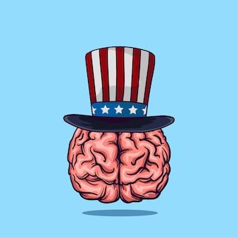 Un cerveau avec un chapeau d'oncle sam et un fond bleu