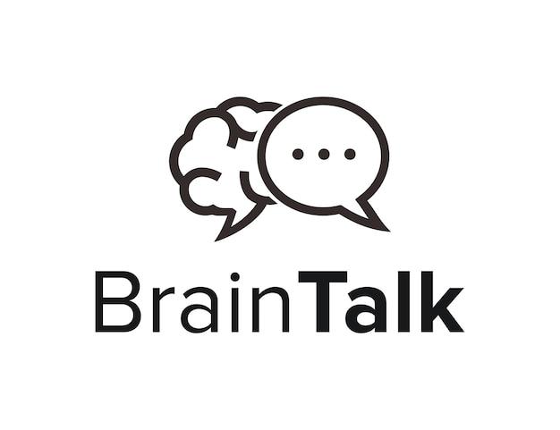 Cerveau avec chat bubble talk contour simple et élégant design de logo moderne