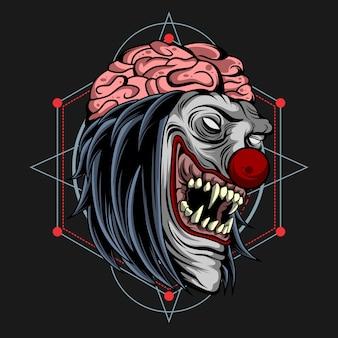 Cerveau de clown zombie sur