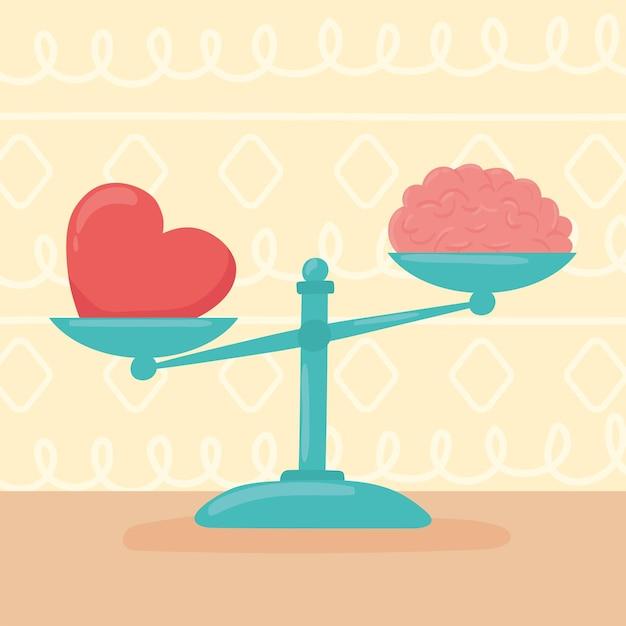 Cerveau et coeur sur une échelle