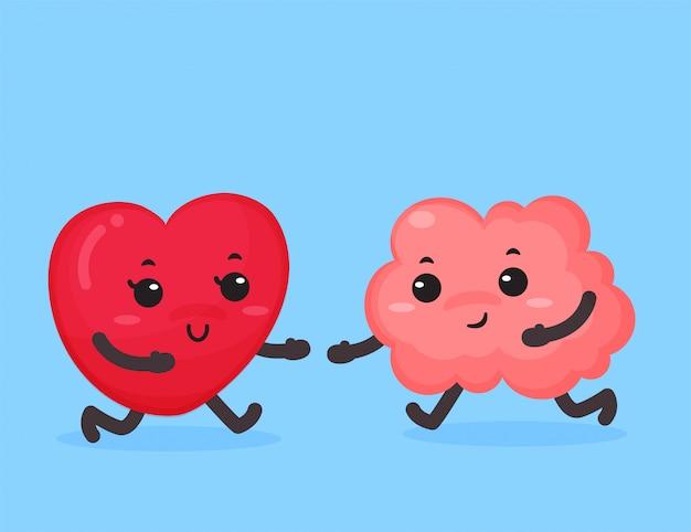Cerveau et coeur qui embrassent l'amour.