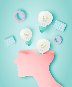Cerveau avec concept d'idée dans un style art papier