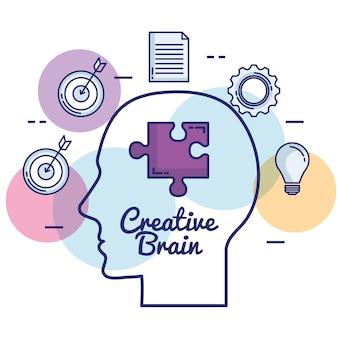 Cerveau créatif set d'icônes
