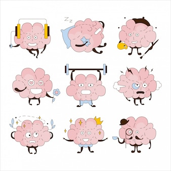Cerveau différentes activités et émoticônes icon set