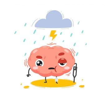 Le cerveau est blessé par une tempête au-dessus. illustration isolée