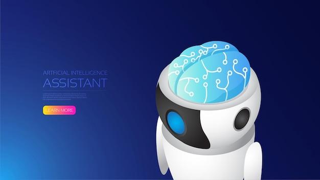 Cerveau humain d'intelligence artificielle isométrique