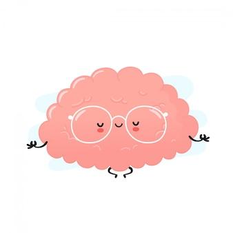 Le cerveau humain mignon médite. conception d'icône illustration de personnage de dessin animé.