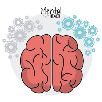 Cerveau humain en santé mentale engrenages image