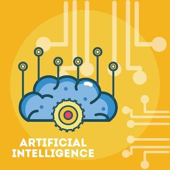 Cerveau d'intelligence artificielle sur fond de puce