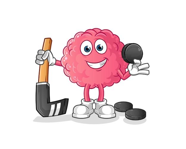 Cerveau jouant au hockey. personnage de dessin animé