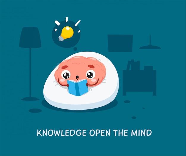 Un cerveau lit le livre bleu. illustration isolée